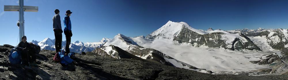 Photo of the Bishorn and Turtmann glacier from the summit of Üssers Barrhorn, Valais/Wallis, Switzerland