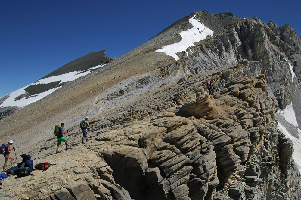 Photo of Inneres Barrhorrn and Üssers Barrhorn and hike trail from Schöllijoch, Valais/Wallis, Switzerland