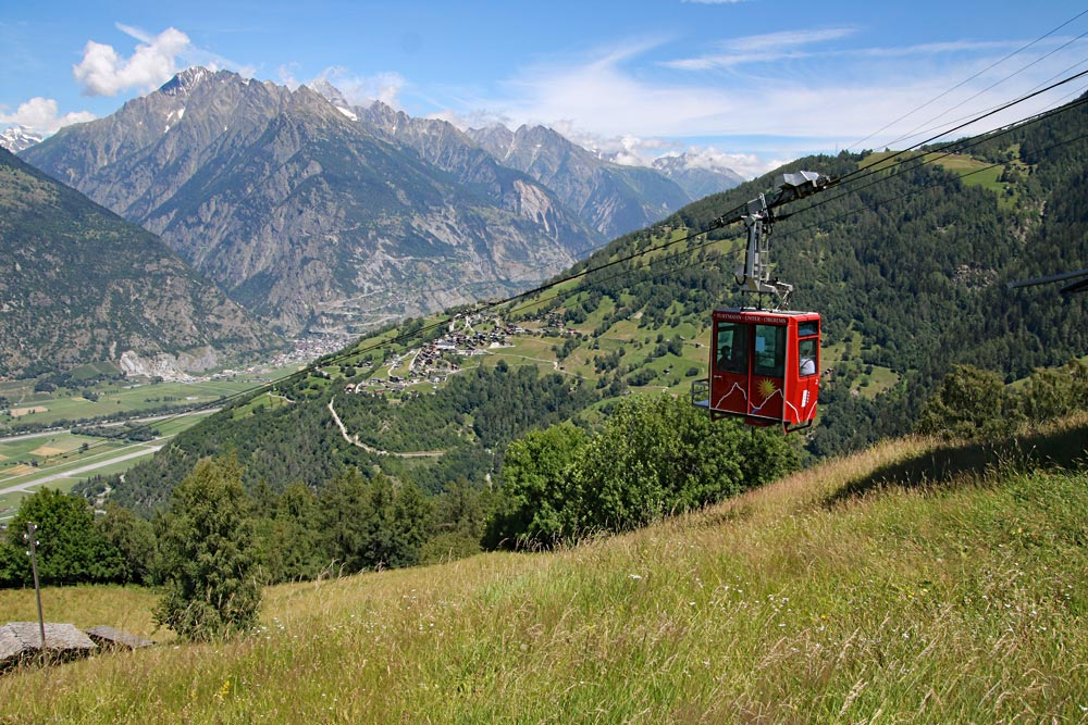 Photo of the cable car from Turtmann to Oberems