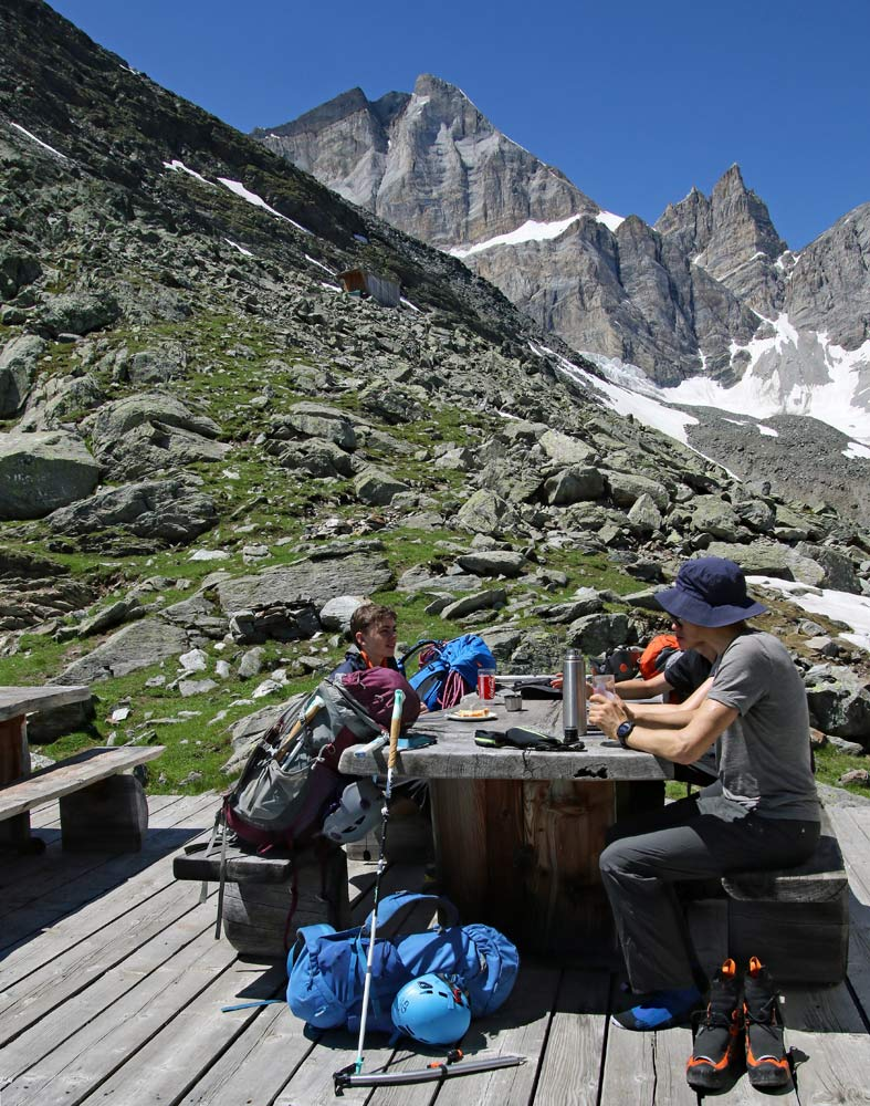 Photo of the Topalihütte and Barrhorn on the hike from St Niklaus, Wallis, Switzerland