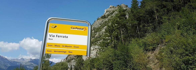Photo of the Belvedere via ferrata bus stop at Nax, Valais/Wallis, Switzerland