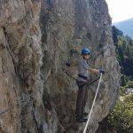 Photo of a person on the Belvedere via ferrata (klettersteig) at Nax, Valais/Wallis, Switzerland/Suisse/Schweiz