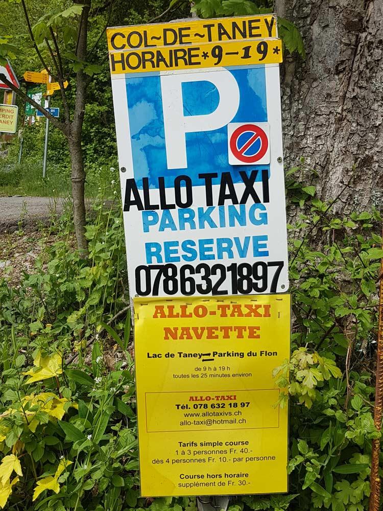 Photo of Lac de Taney taxi sign at Le Flon, Valais/Wallis, Switzerland