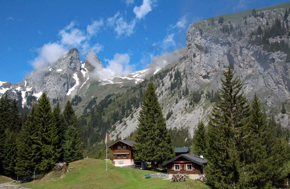 Photo of chalets at Taney village and Les Jumelles, Lac de Tanay   Hiking in Switzerland