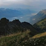 Photo of Lake Brienz and the Hardergrat ridge from the Brienz Rothorn Bahn   Scenic trains in Switzerland