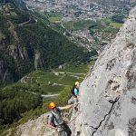 Photo of people climbing the Belvedere via ferrata (klettersteig) at Nax, Valais/Wallis, Switzerland/Suisse/Schweiz