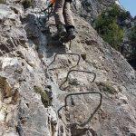 Photo of a person climbing the Belvedere via ferrata (klettersteig) at Nax, Valais/Wallis, Switzerland/Suisse/Schweiz