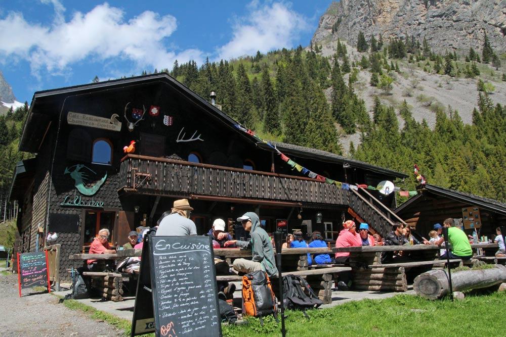 Photo of auberge restaurant at Lac de Taney, Valais/Wallis   Hiking in Switzerland